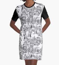 walking doodle toile de jouy black Graphic T-Shirt Dress