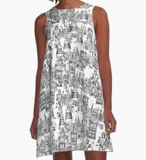 walking doodle toile de jouy black A-Line Dress