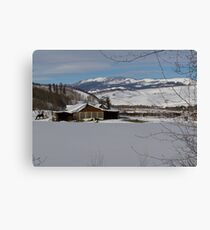 Snowy farm in Summit County Canvas Print