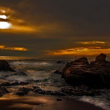 Sunset on the Central California Coast by Buckwhite
