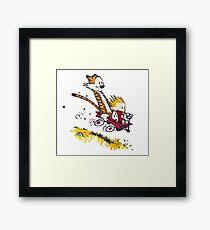 Comicfiguren von Calvin und Hobbes Gerahmtes Wandbild