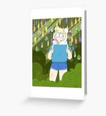 adventure time, finn and plants Greeting Card
