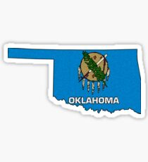 Oklahoma Map With Oklahoma State Flag Sticker