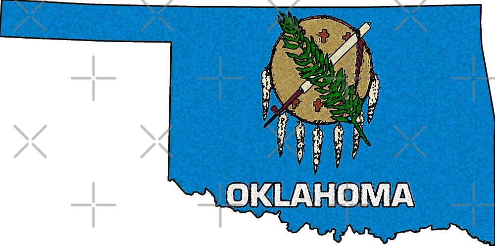 Oklahoma Map With Oklahoma State Flag by Havocgirl