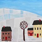 First Snow Folk Art Painting by lasgalenarts