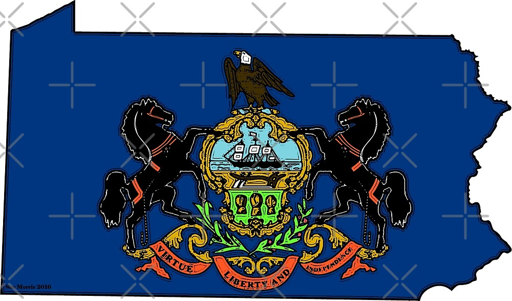 Pennsylvania Map With Pennsylvania State Flag by Havocgirl