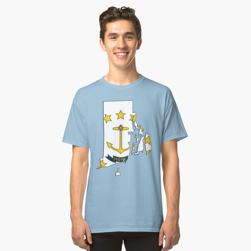 Rhode Island Map With Rhode Island State Flag Classic T-Shirt Front