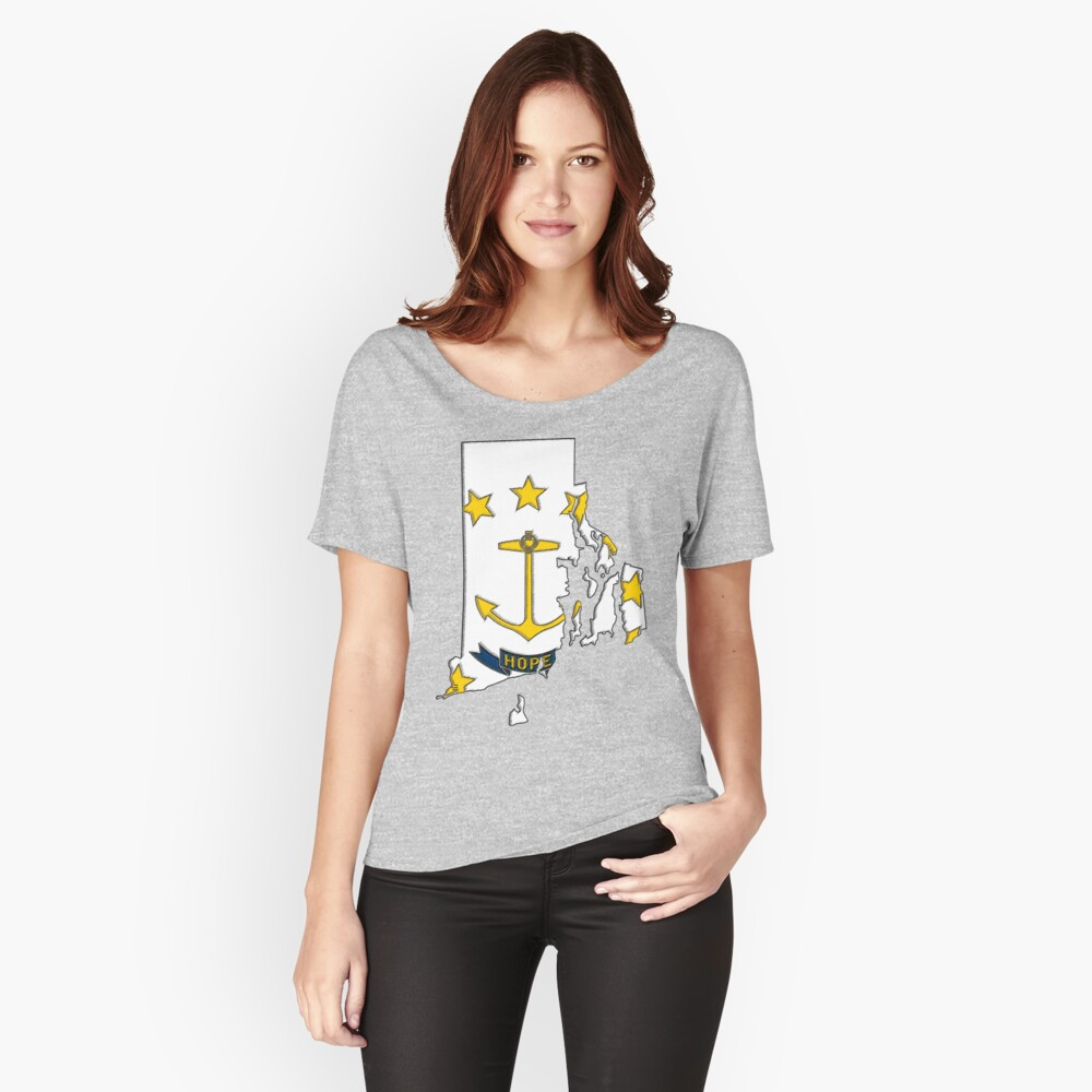 Rhode Island Map With Rhode Island State Flag Women's Relaxed Fit T-Shirt Front