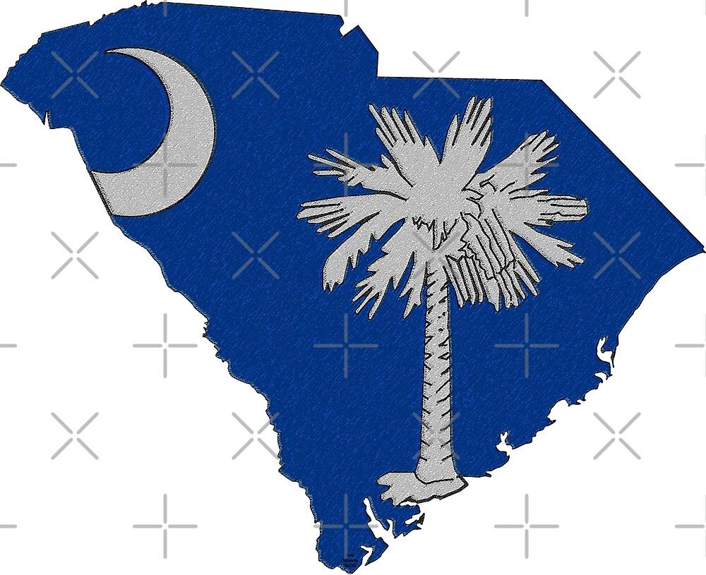 South Carolina Map With South Carolina State Flag by Havocgirl