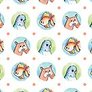 Exotic Pets Pattern - Hamster, Budgie, Goldfish by Vena Carr