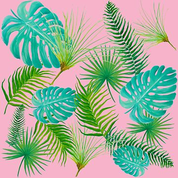 Tropical Leaves on pink background by MatsonArtDesign