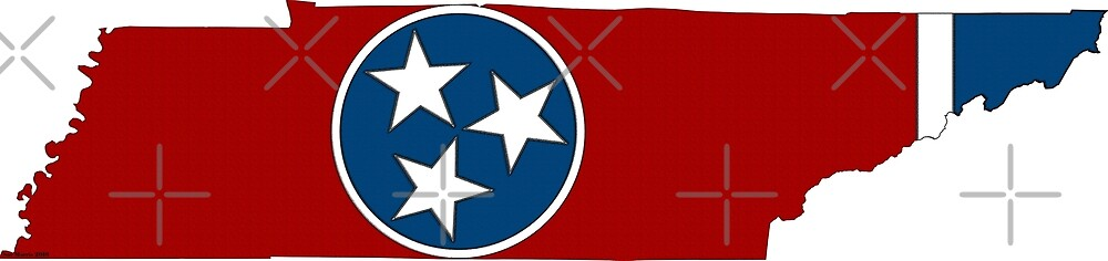 Tennessee Map With Tennessee State Flag by Havocgirl
