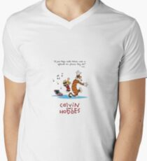 Calvin and Hobbes Dancing Men's V-Neck T-Shirt