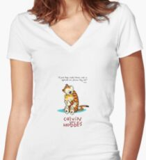 Calvin and Hobbes Hugging Women's Fitted V-Neck T-Shirt