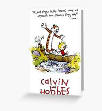 Calvin and Hobbes Over the Water Greeting Card