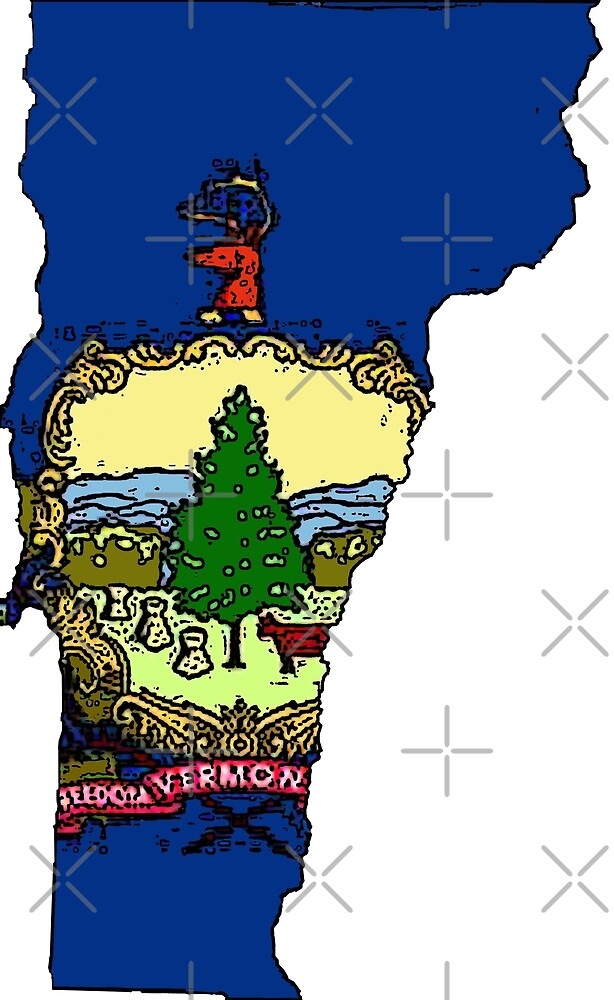 Vermont Map With Vermont State Flag by Havocgirl