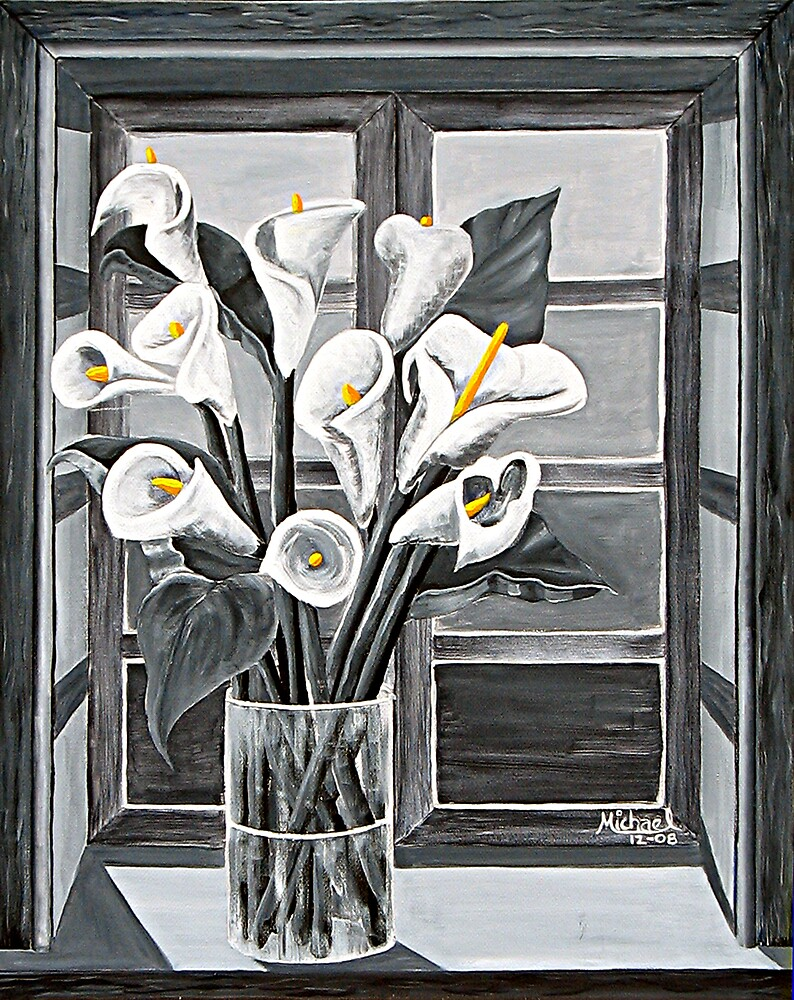 """""""Lilies in Window"""" original signed acrylic painting on canvas by Michael Arnold"""