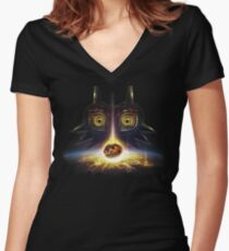 Camiseta entallada de cuello en V Leyenda de Zelda Majora's Mask Operation Moon Fall