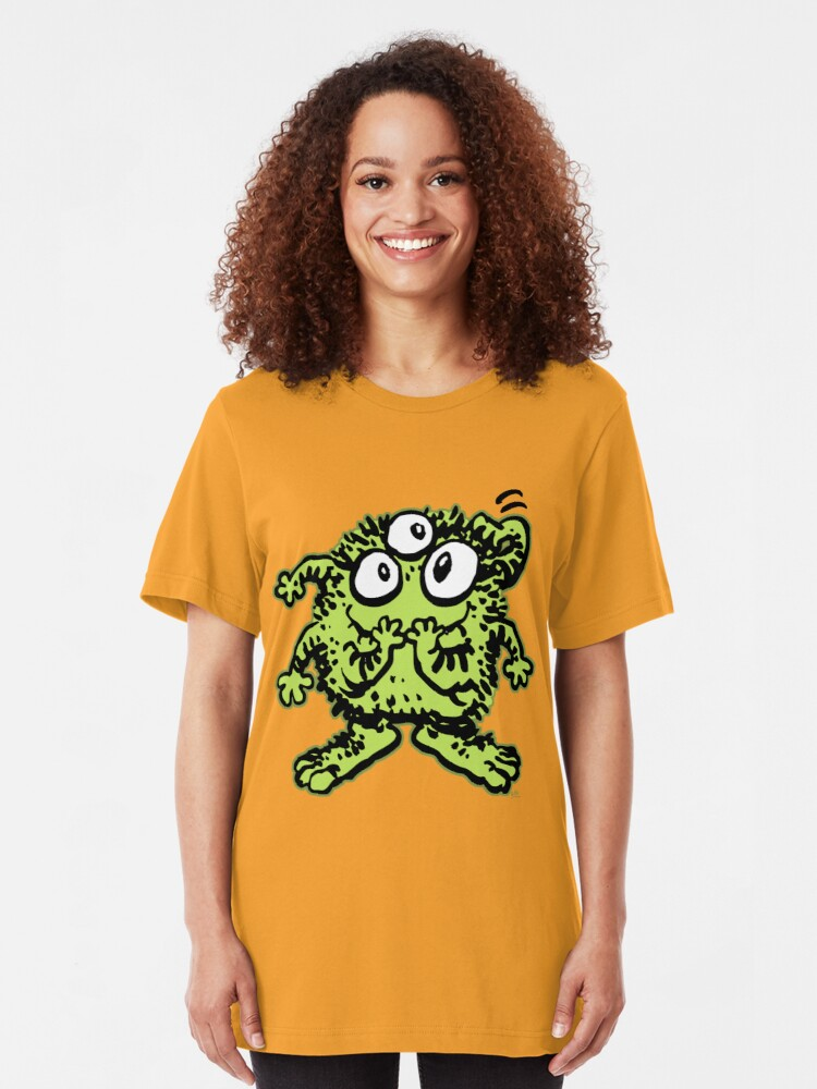 Alternate view of Cute Cartoon Green Monster by Cheerful Madness!! Slim Fit T-Shirt