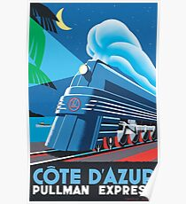 French Riviera Classic Vintage Train Travel Poster Poster