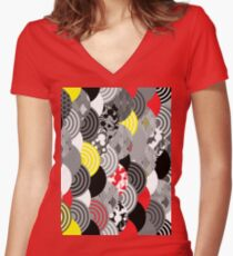 scales simple Nature background with japanese sakura flower, Cherry, wave circle Black gray white Red Yellow Women's Fitted V-Neck T-Shirt