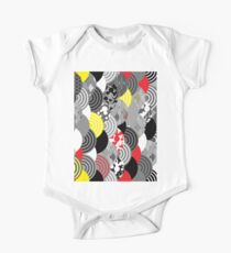scales simple Nature background with japanese sakura flower, Cherry, wave circle Black gray white Red Yellow One Piece - Short Sleeve