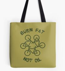 Burn Fat Not Oil Recycle Code Parody Green Graphic Tote Bag