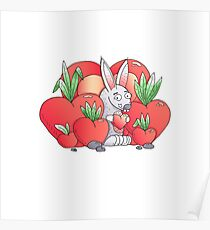 Unique hand drawn Valentine's funny bunny Poster