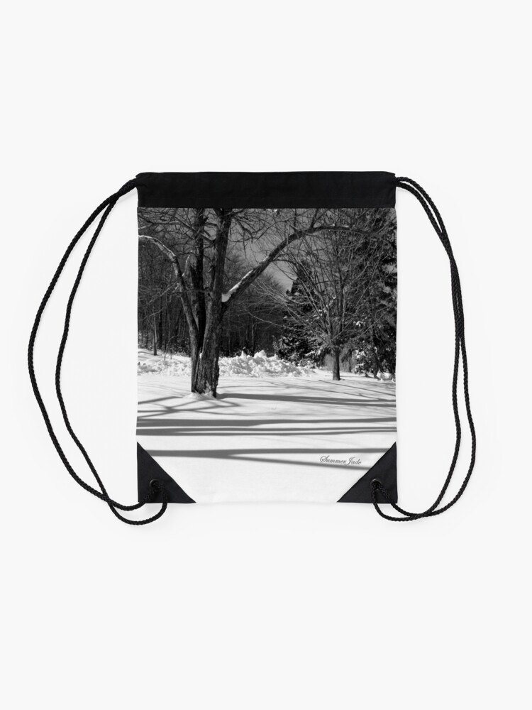 Alternate view of That Cold Winter Sun ~ On Snow Drawstring Bag