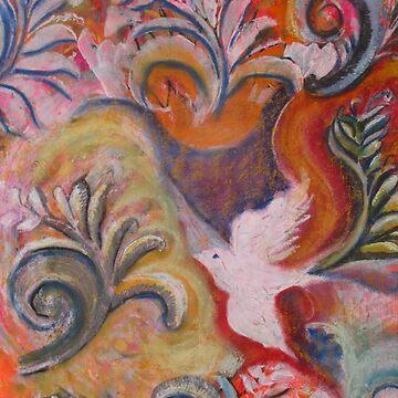 White doves with orange by MarilynBaldey7