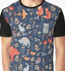 Fairy-tale forest. Fox, bear, raccoon, owls, rabbits, flowers and herbs on a blue background. Graphic T-Shirt