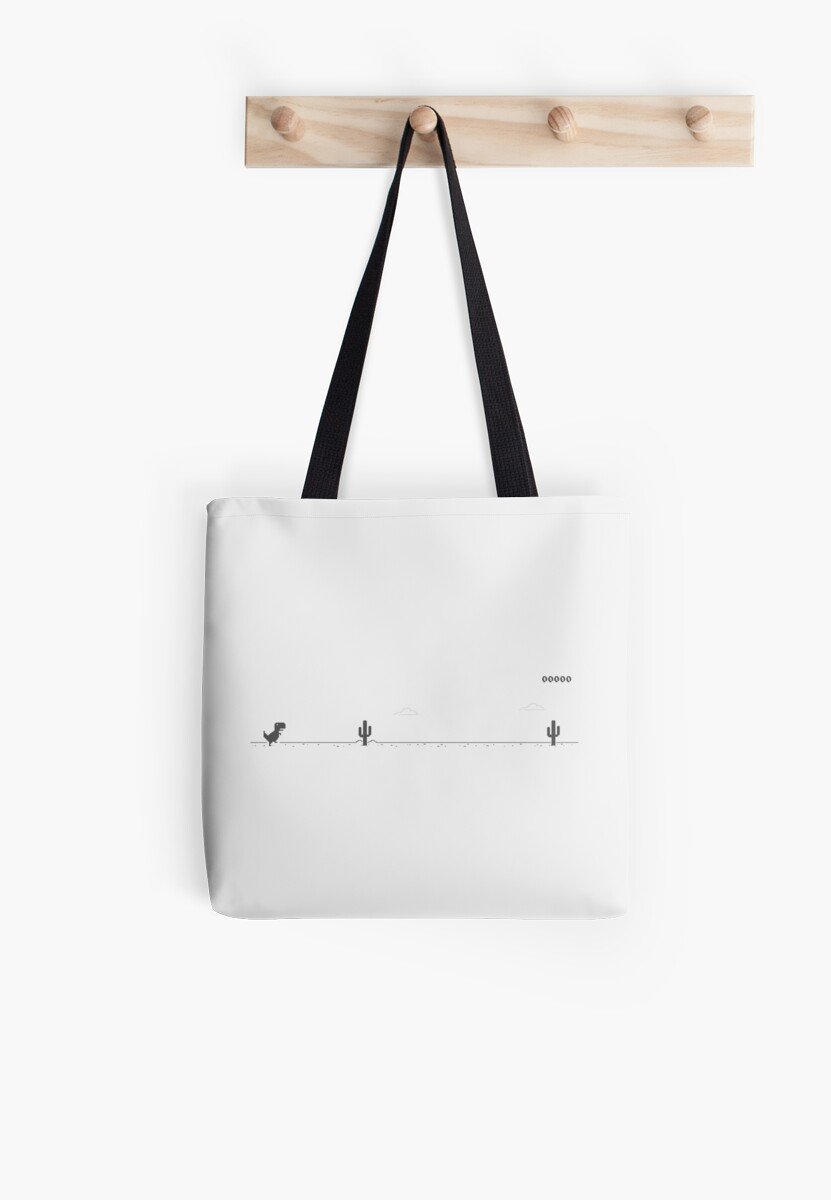 google chrome t rex game tote bags by scammell design redbubble