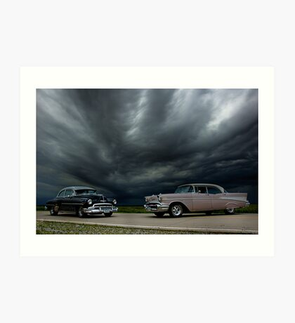 '54 Chevy Deluxe & '56 Bel Air Custom Art Print