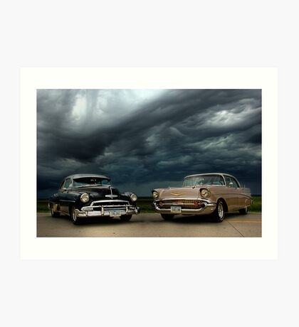 '54 Chevy Deluxe & '57 Bel Air Custom Art Print