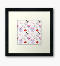 Valentine watercolor icons pattern Framed Print
