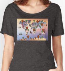 map of hot balloon Women's Relaxed Fit T-Shirt