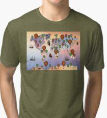 map of hot balloon Tri-blend T-Shirt