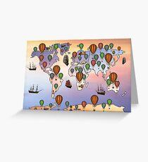 map of hot balloon Greeting Card