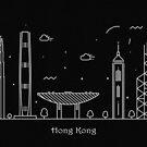 Hong Kong Skyline Minimal Line Art Poster by A Deniz Akerman