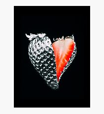 Sliced Strawberry painted of chrome on a black background. heart shaped Photographic Print