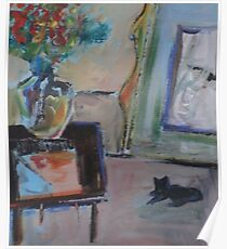 BLACK CAT, RED FLOWERS(C2008) Poster