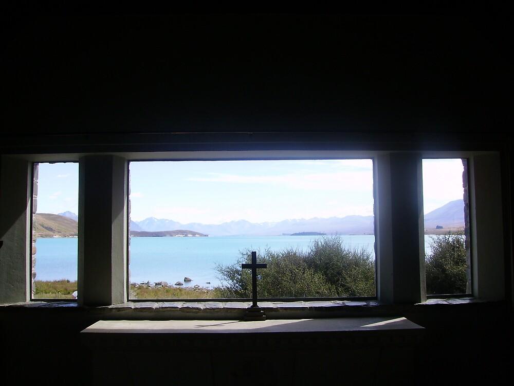 Cross in chapel, Lake Tekopa, New Zealand by Phil413Jay