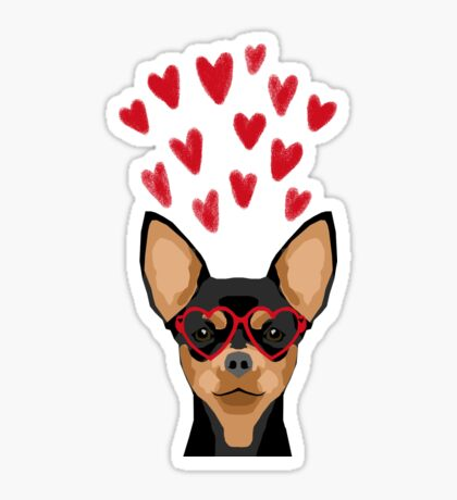 Chihuahua black and tan valentines day love hearts dog breed gifts cute chiwawa glasses Sticker