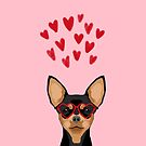 Chihuahua black and tan valentines day love hearts dog breed gifts cute chiwawa glasses by PetFriendly