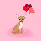 Chihuahua valentines day love hearts dog breed gifts cute chiwawa balloons pure breed by PetFriendly