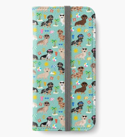 Dachshund beach sunshine summer days doxie dachsie gift must have dog gifts iPhone Wallet