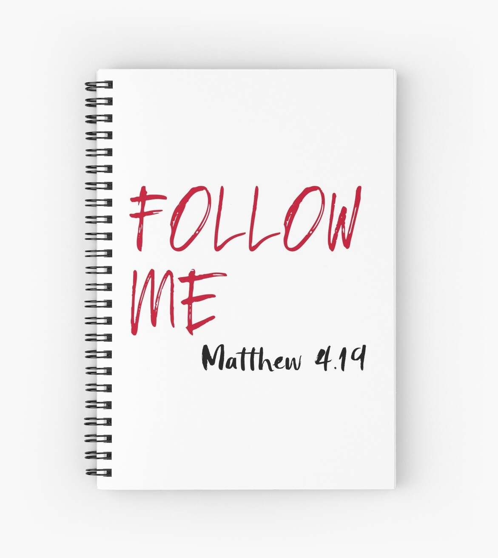 "Red X 10 U Verse: ""Red Letter Jesus Bible Verse: Follow Me "" Spiral Notebook"