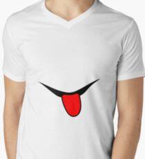 Smile - Tongue - black and red. Men's V-Neck T-Shirt