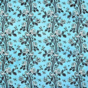 Floral Blue Rose Fabric Vintage Gift Pattern #11 by NeonAbstracts