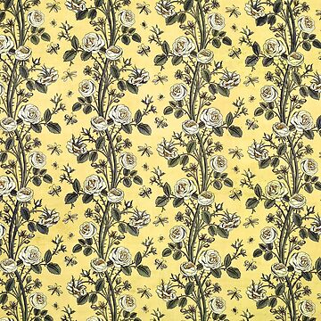 Rose Floral Fabric Vintage Gift Pattern #14 by NeonAbstracts